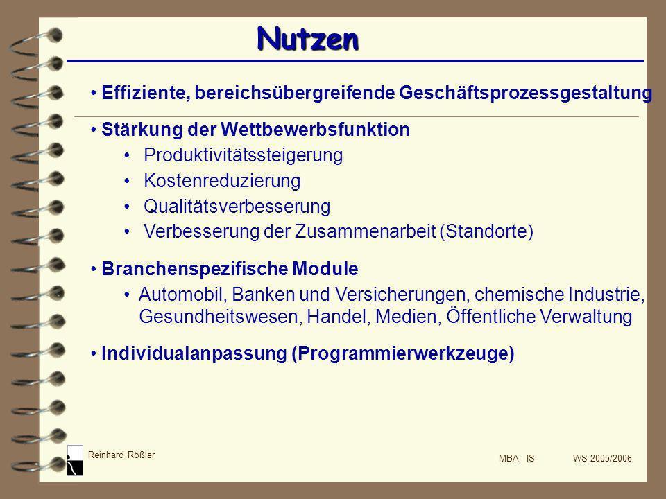 Reinhard Rößler MBA IS WS 2005/2006 Nutzen Effiziente, bereichsübergreifende Geschäftsprozessgestaltung Stärkung der Wettbewerbsfunktion Produktivität