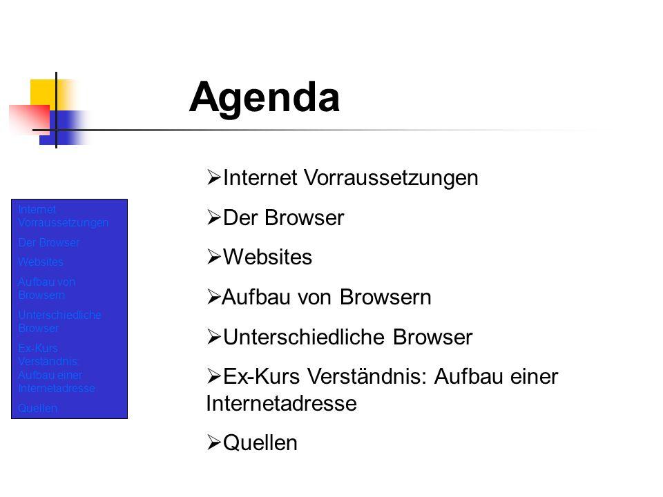 Internet Vorraussetzungen Der Browser Websites Aufbau von Browsern Unterschiedliche Browser Ex-Kurs Verständnis: Aufbau einer Internetadresse Quellen Internet Vorraussetzungen Computer: - Generell ist es mit jedem PC möglich eine stabile Internet Verbindungen aufzubauen.
