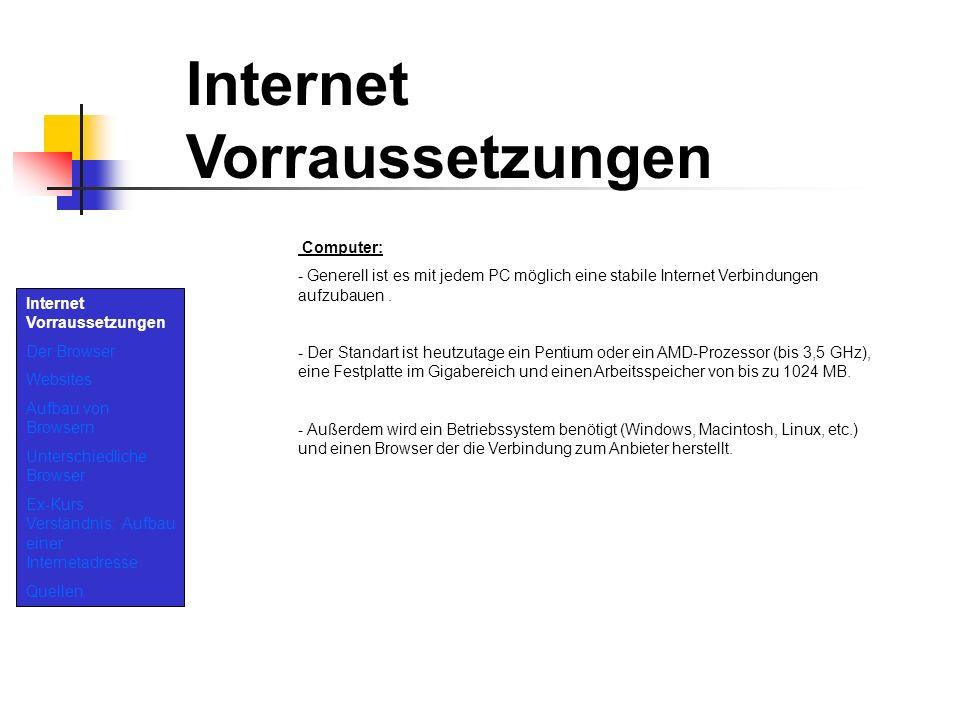 Internet Vorraussetzungen Der Browser Websites Aufbau von Browsern Unterschiedliche Browser Ex-Kurs Verständnis: Aufbau einer Internetadresse Quellen Internet Vorraussetzungen Verbindung: Eine Verbindung wird über die Telefonleitung hergestellt.