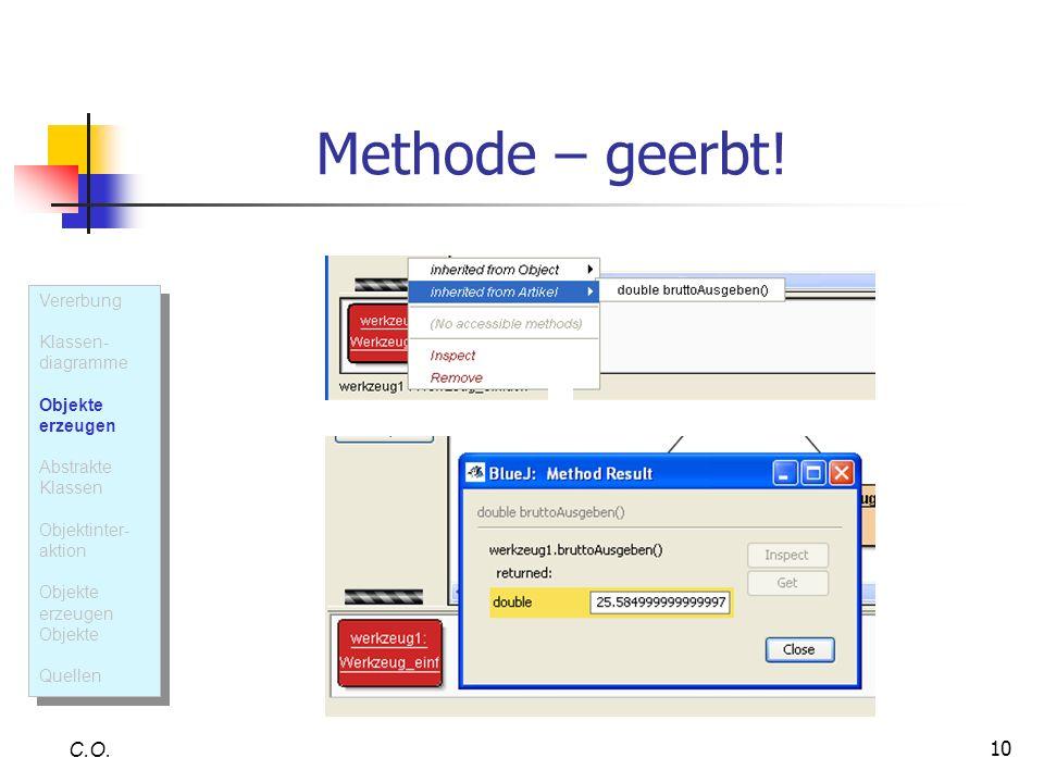 10 Methode – geerbt! C.O. Vererbung Klassen- diagramme Objekte erzeugen Abstrakte Klassen Objektinter- aktion Objekte erzeugen Objekte Quellen Vererbu