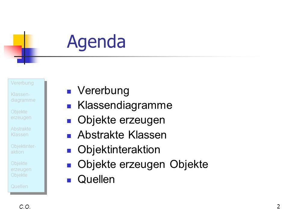 2 Agenda Vererbung Klassendiagramme Objekte erzeugen Abstrakte Klassen Objektinteraktion Objekte erzeugen Objekte Quellen C.O. Vererbung Klassen- diag
