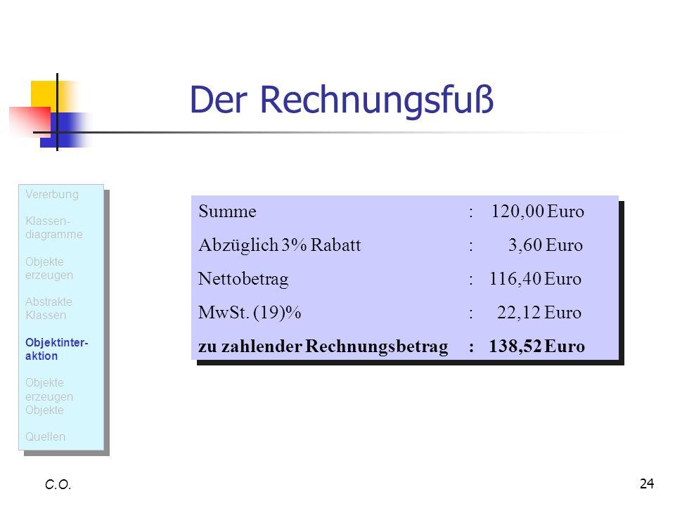 24 Der Rechnungsfuß C.O. Summe: 120,00 Euro Abzüglich 3% Rabatt: 3,60 Euro Nettobetrag: 116,40 Euro MwSt. (19)%: 22,12 Euro zu zahlender Rechnungsbetr