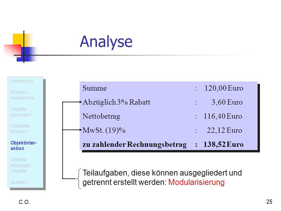 25 Analyse C.O. Summe: 120,00 Euro Abzüglich 3% Rabatt: 3,60 Euro Nettobetrag: 116,40 Euro MwSt. (19)%: 22,12 Euro zu zahlender Rechnungsbetrag: 138,5