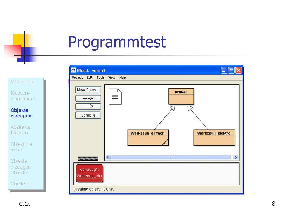 8 Programmtest C.O. Vererbung Klassen- diagramme Objekte erzeugen Abstrakte Klassen Objektinter- aktion Objekte erzeugen Objekte Quellen Vererbung Kla