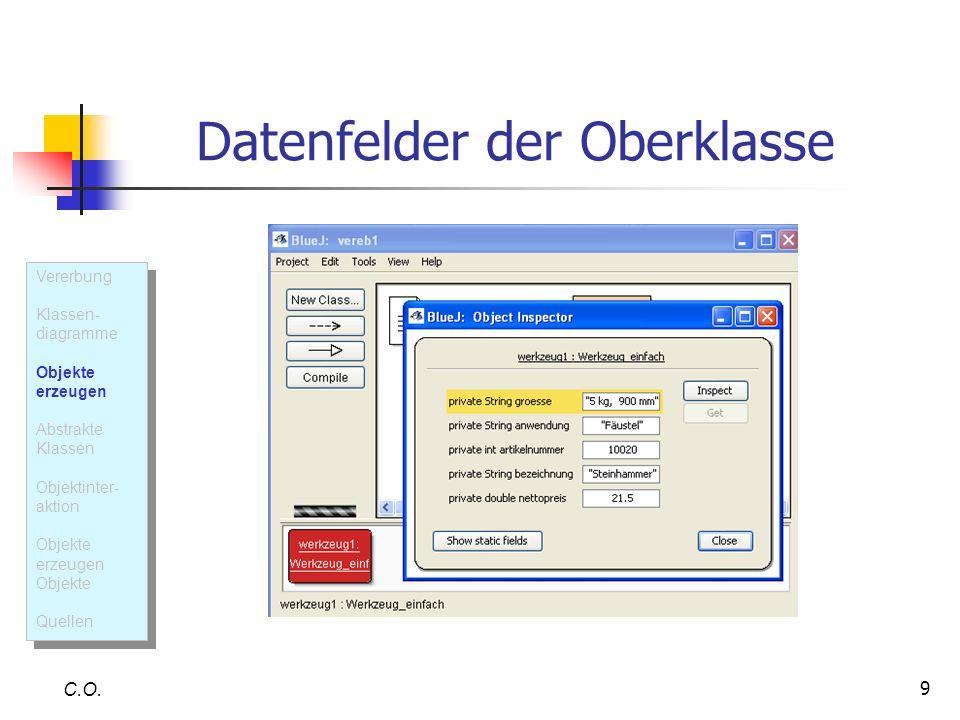 9 Datenfelder der Oberklasse C.O. Vererbung Klassen- diagramme Objekte erzeugen Abstrakte Klassen Objektinter- aktion Objekte erzeugen Objekte Quellen