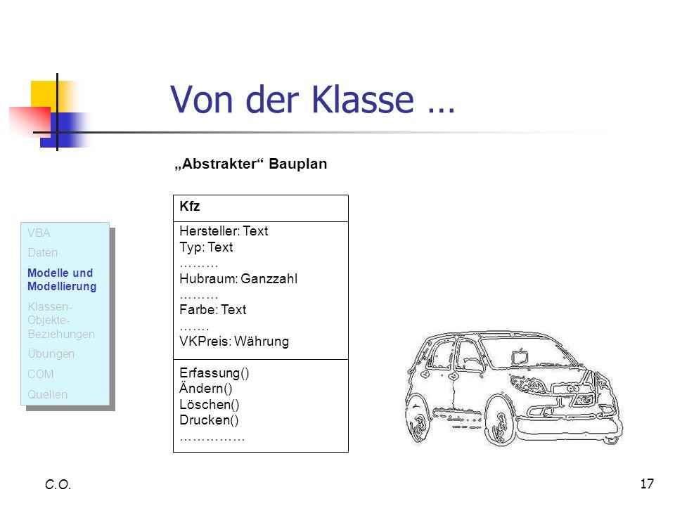 17 Von der Klasse … C.O. Kfz Hersteller: Text Typ: Text ……… Hubraum: Ganzzahl ……… Farbe: Text ……. VKPreis: Währung Erfassung() Ändern() Löschen() Druc