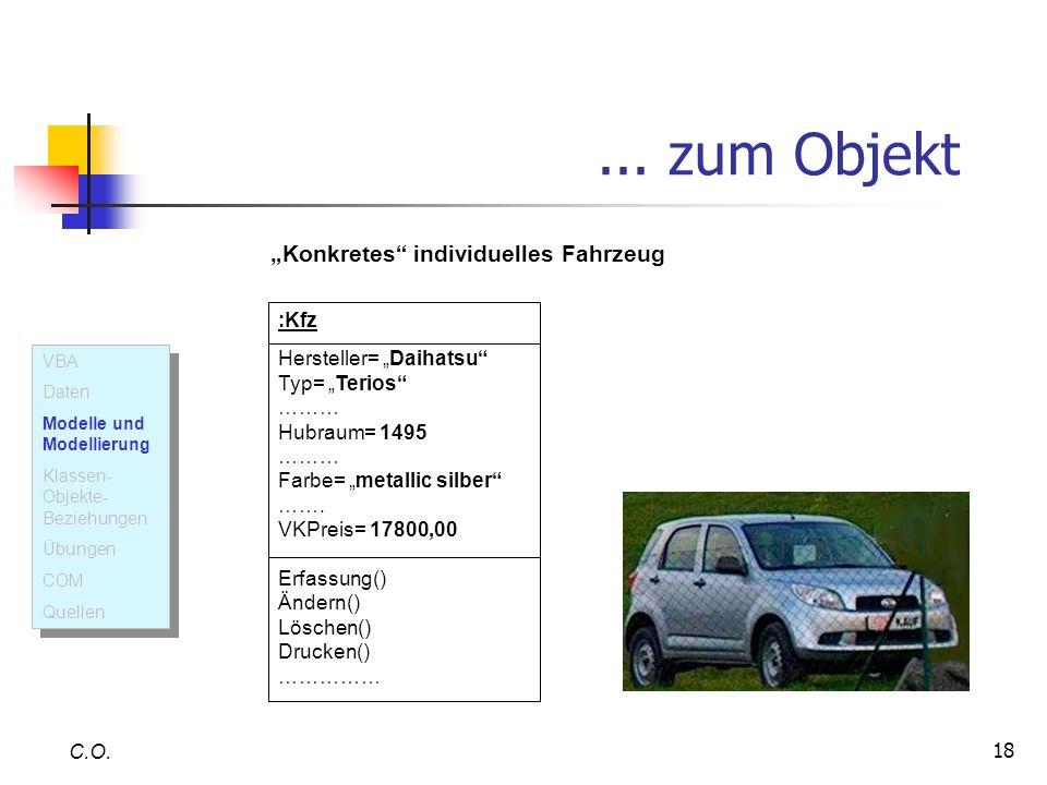 18... zum Objekt C.O. :Kfz Hersteller= Daihatsu Typ= Terios ……… Hubraum= 1495 ……… Farbe= metallic silber ……. VKPreis= 17800,00 Erfassung() Ändern() Lö