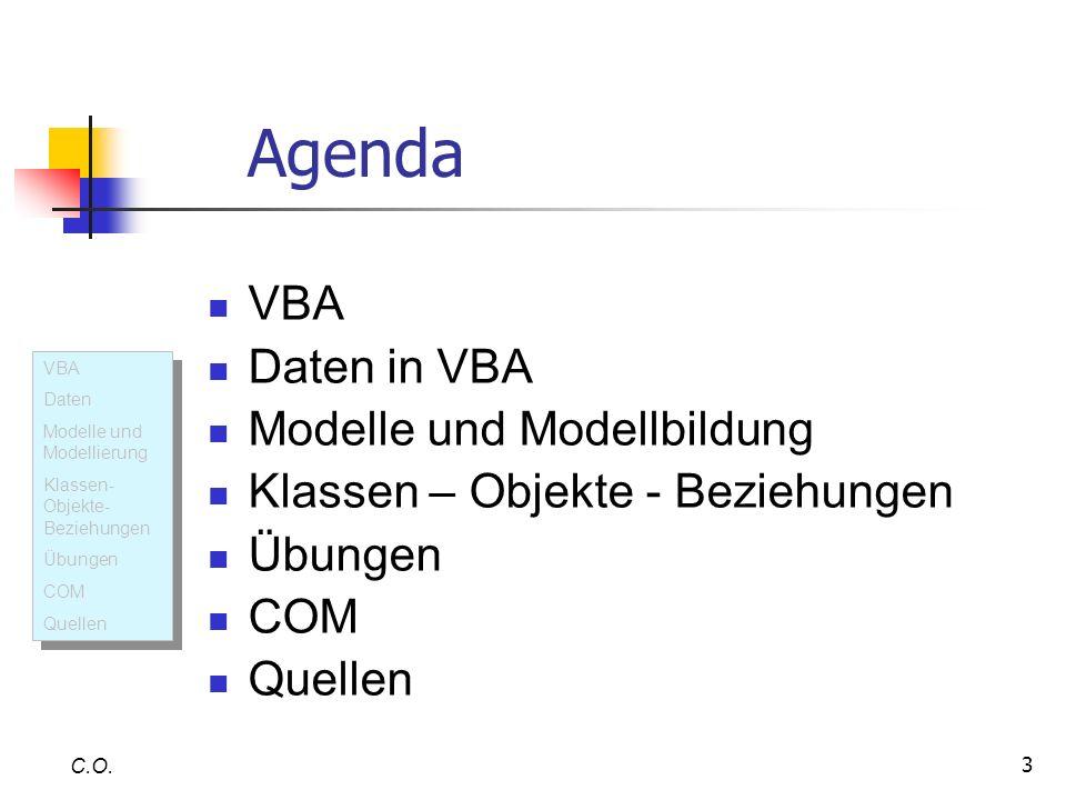 3 Agenda C.O. VBA Daten Modelle und Modellierung Klassen- Objekte- Beziehungen Übungen COM Quellen VBA Daten Modelle und Modellierung Klassen- Objekte