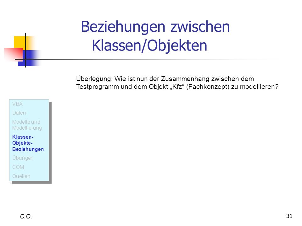 31 Beziehungen zwischen Klassen/Objekten C.O. Überlegung: Wie ist nun der Zusammenhang zwischen dem Testprogramm und dem Objekt Kfz (Fachkonzept) zu m