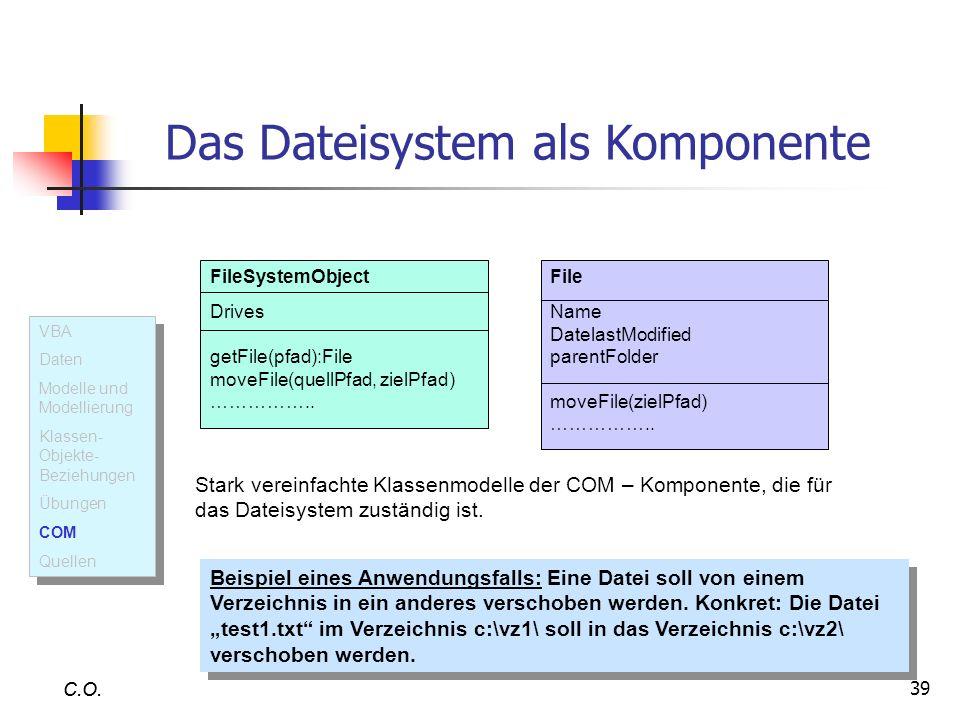 39 C.O. Das Dateisystem als Komponente FileSystemObject Drives getFile(pfad):File moveFile(quellPfad, zielPfad) …………….. Stark vereinfachte Klassenmode