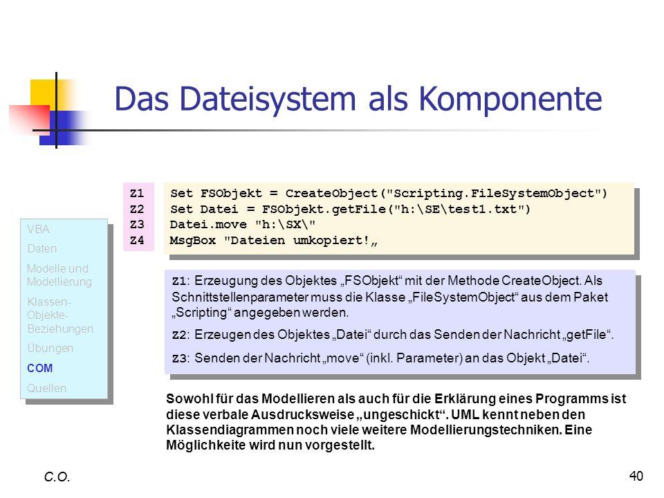 40 C.O. Das Dateisystem als Komponente Set FSObjekt = CreateObject(