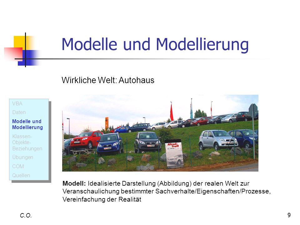 9 Modelle und Modellierung C.O. Wirkliche Welt: Autohaus Modell: Idealisierte Darstellung (Abbildung) der realen Welt zur Veranschaulichung bestimmter