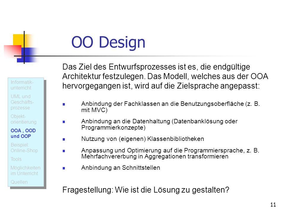 11 OO Design Das Ziel des Entwurfsprozesses ist es, die endgültige Architektur festzulegen. Das Modell, welches aus der OOA hervorgegangen ist, wird a