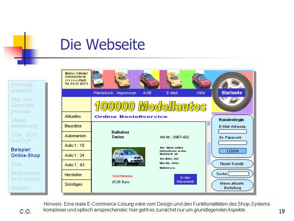 19 Die Webseite C.O. U M L Informatik- unterricht UML und Geschäfts- prozesse Objekt- orientierung OOA, OOD und OOP Beispiel: Online-Shop Tools Möglic
