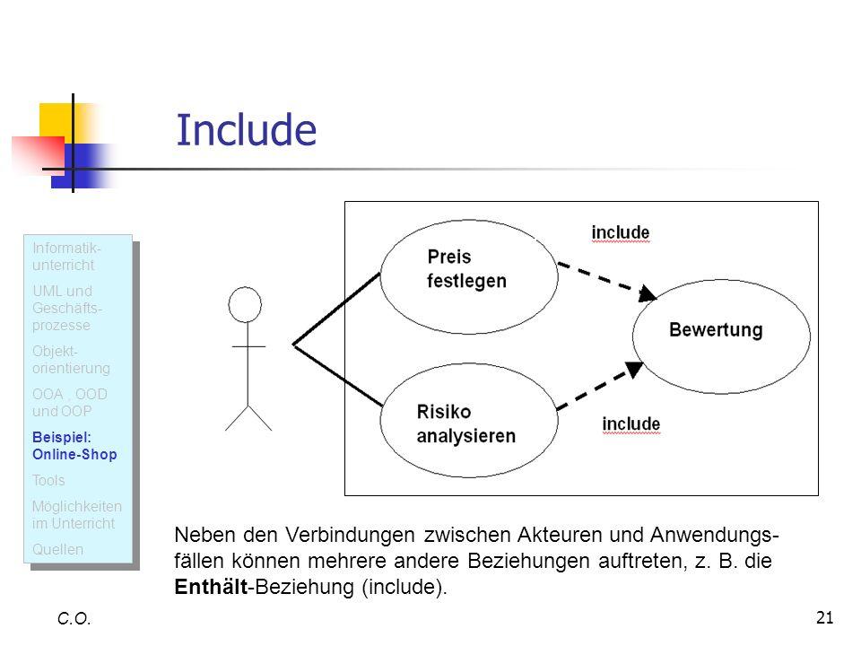 21 Include C.O. Neben den Verbindungen zwischen Akteuren und Anwendungs- fällen können mehrere andere Beziehungen auftreten, z. B. die Enthält-Beziehu