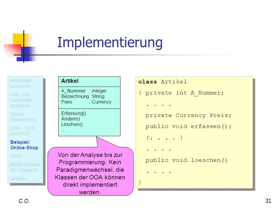 31 Implementierung C.O.