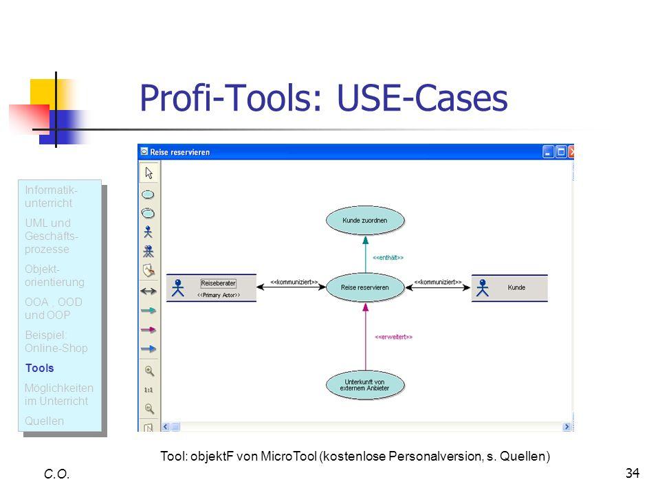 34 Profi-Tools: USE-Cases C.O. Informatik- unterricht UML und Geschäfts- prozesse Objekt- orientierung OOA, OOD und OOP Beispiel: Online-Shop Tools Mö