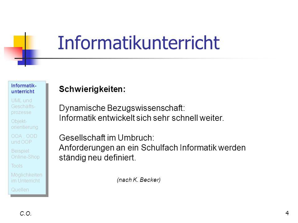 5 Informatikunterricht heute Baummann, R.: Die Aufgabe der Informatik besteht in Analyse, Entwurf und Realisierung von Informatiksystemen sowie in der Anpassung solcher Systeme an geeignete Einsatzbedingungen.