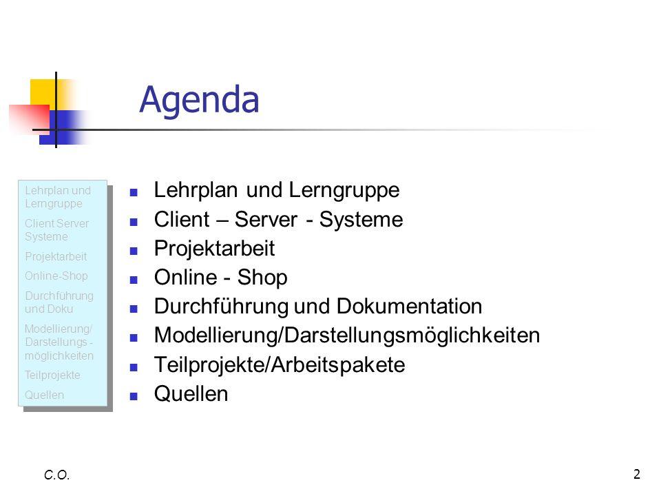 2 Agenda Lehrplan und Lerngruppe Client – Server - Systeme Projektarbeit Online - Shop Durchführung und Dokumentation Modellierung/Darstellungsmöglich