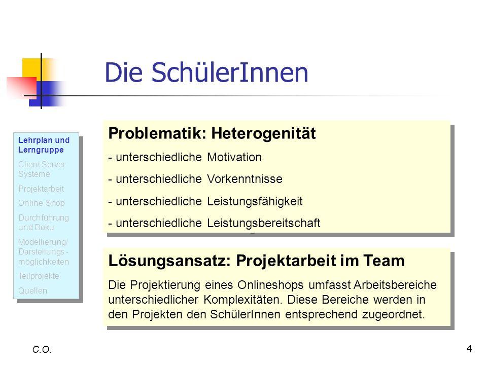 4 C.O. Die SchülerInnen Problematik: Heterogenität - unterschiedliche Motivation - unterschiedliche Vorkenntnisse - unterschiedliche Leistungsfähigkei