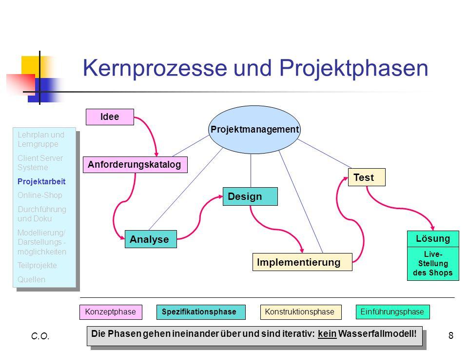 8 C.O. Projektmanagement Analyse Design Implementierung Idee Anforderungskatalog Lösung Kernprozesse und Projektphasen Test KonzeptphaseSpezifikations