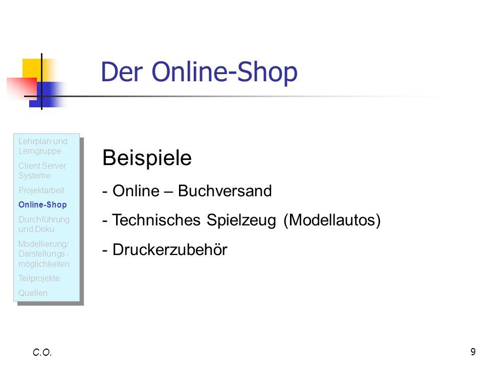 9 C.O. U M L Der Online-Shop Beispiele - Online – Buchversand - Technisches Spielzeug (Modellautos) - Druckerzubehör Lehrplan und Lerngruppe Client Se