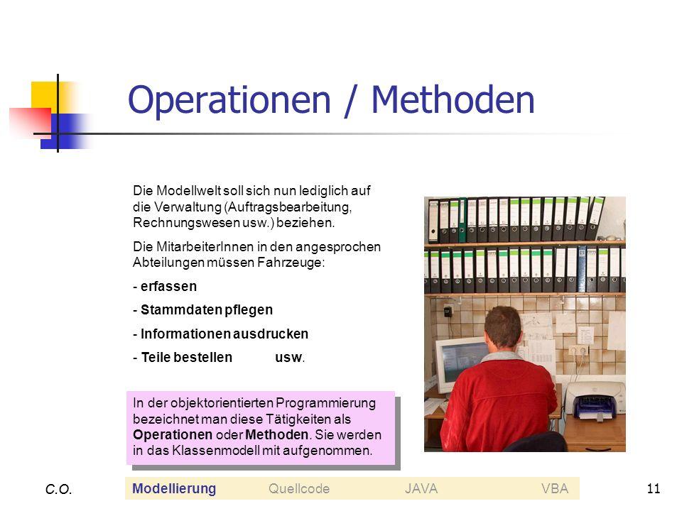 11 C.O. Operationen / Methoden C.O. Die Modellwelt soll sich nun lediglich auf die Verwaltung (Auftragsbearbeitung, Rechnungswesen usw.) beziehen. Die