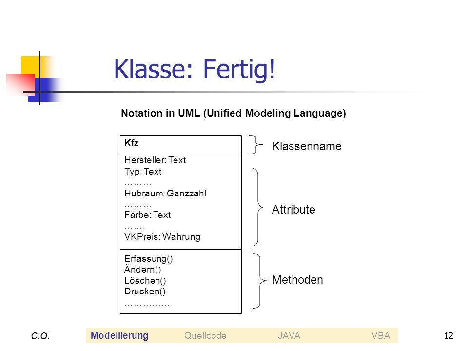 12 C.O. Klasse: Fertig! C.O. Kfz Hersteller: Text Typ: Text ……… Hubraum: Ganzzahl ……… Farbe: Text ……. VKPreis: Währung Erfassung() Ändern() Löschen()