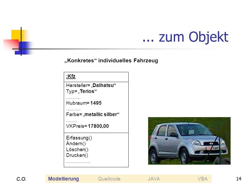 14 C.O.... zum Objekt C.O. :Kfz Hersteller= Daihatsu Typ= Terios ……… Hubraum= 1495 ……… Farbe= metallic silber ……. VKPreis= 17800,00 Erfassung() Ändern