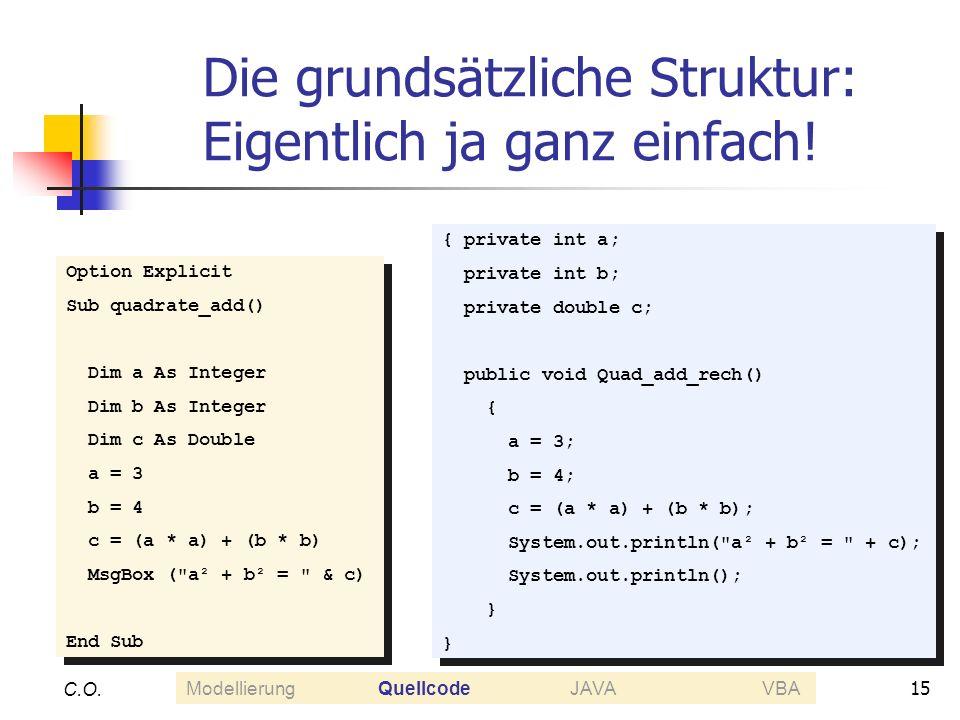 15 C.O. Die grundsätzliche Struktur: Eigentlich ja ganz einfach! Option Explicit Sub quadrate_add() Dim a As Integer Dim b As Integer Dim c As Double