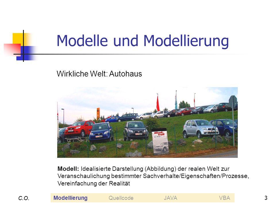 3 C.O. Modelle und Modellierung C.O. Wirkliche Welt: Autohaus Modell: Idealisierte Darstellung (Abbildung) der realen Welt zur Veranschaulichung besti