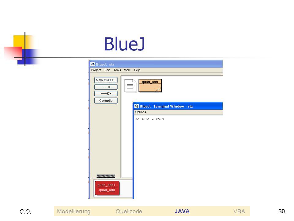 30 C.O. BlueJ ModellierungQuellcodeJAVAVBA