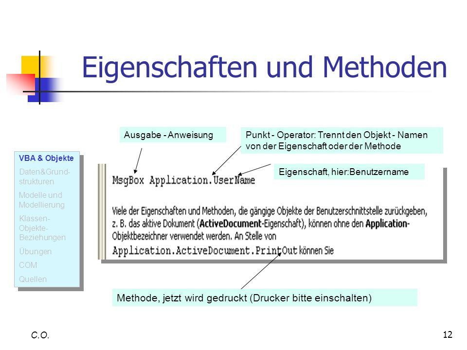 12 Eigenschaften und Methoden C.O. Eigenschaft, hier:Benutzername Ausgabe - Anweisung Punkt - Operator: Trennt den Objekt - Namen von der Eigenschaft