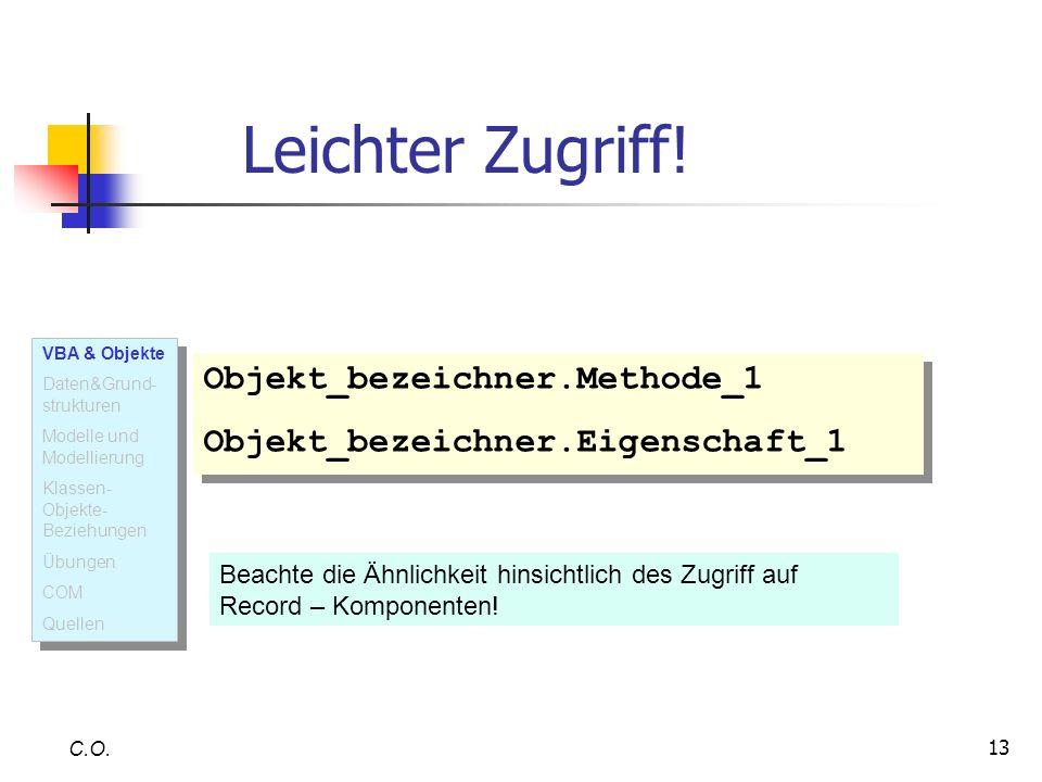 13 Leichter Zugriff! C.O. Objekt_bezeichner.Methode_1 Objekt_bezeichner.Eigenschaft_1 Objekt_bezeichner.Methode_1 Objekt_bezeichner.Eigenschaft_1 Beac