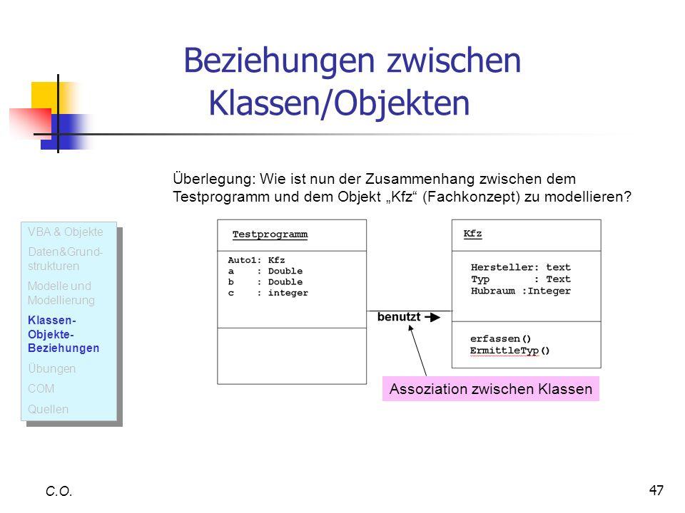 47 Beziehungen zwischen Klassen/Objekten C.O. Überlegung: Wie ist nun der Zusammenhang zwischen dem Testprogramm und dem Objekt Kfz (Fachkonzept) zu m