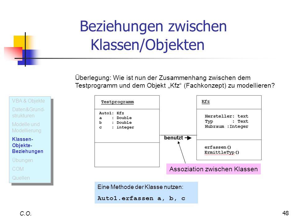 48 C.O. Überlegung: Wie ist nun der Zusammenhang zwischen dem Testprogramm und dem Objekt Kfz (Fachkonzept) zu modellieren? Assoziation zwischen Klass