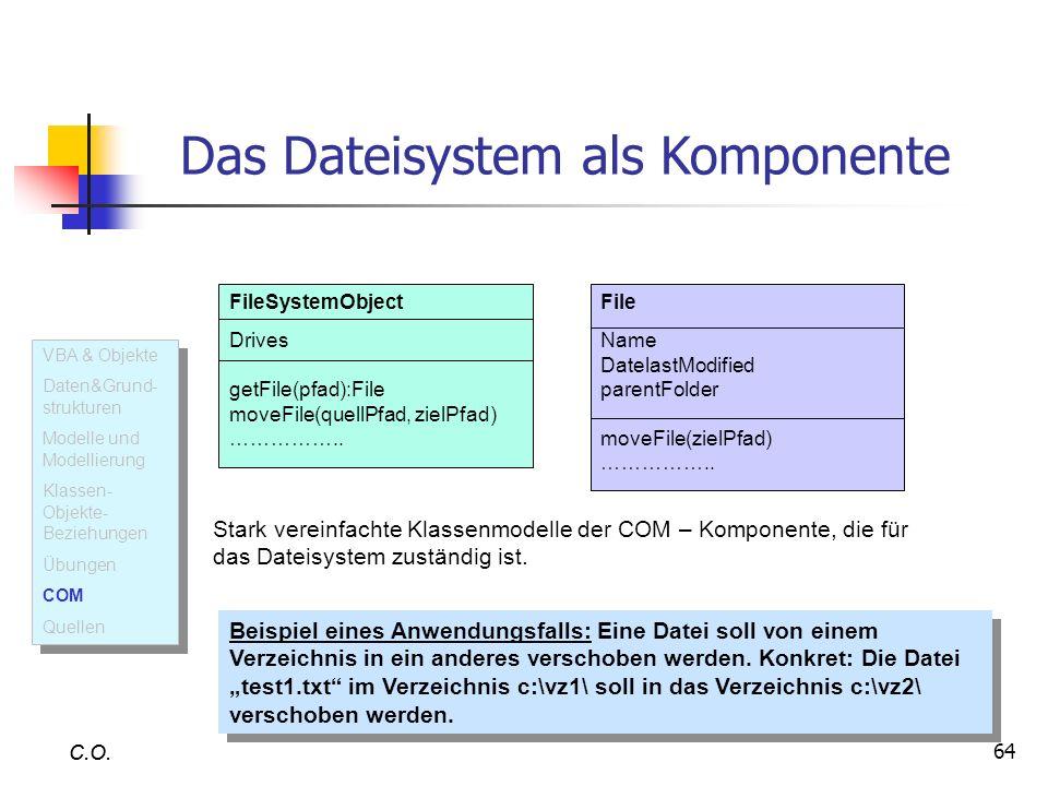 64 C.O. Das Dateisystem als Komponente FileSystemObject Drives getFile(pfad):File moveFile(quellPfad, zielPfad) …………….. Stark vereinfachte Klassenmode