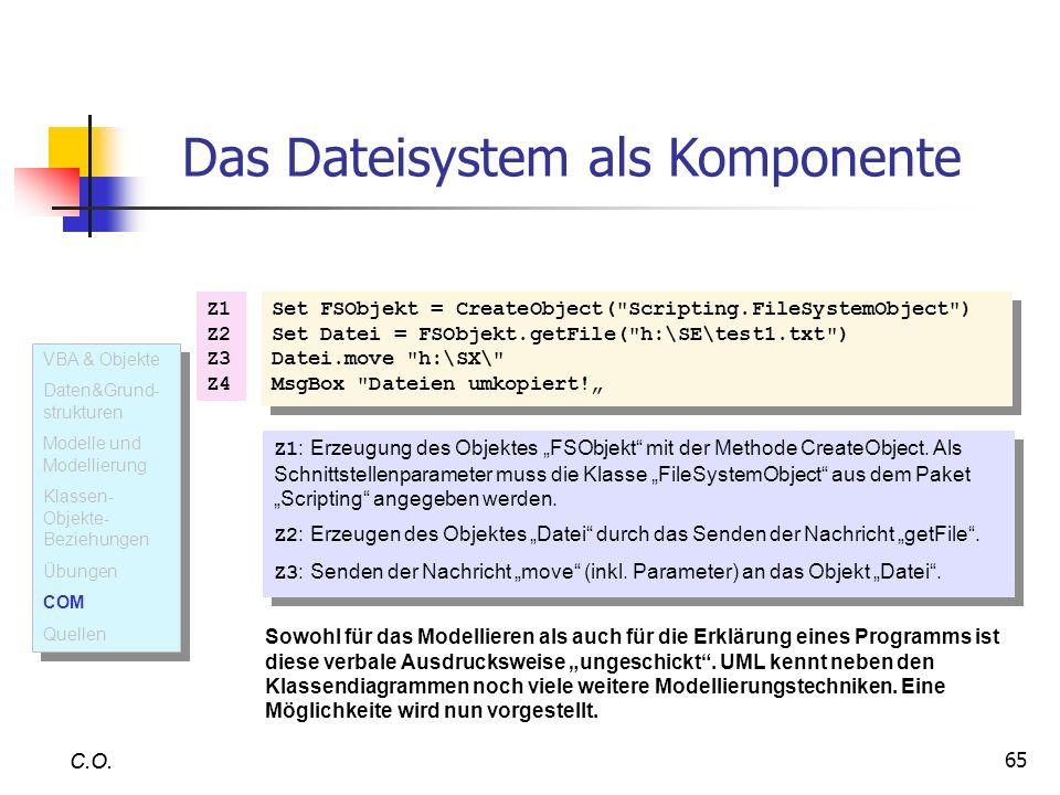 65 C.O. Das Dateisystem als Komponente Set FSObjekt = CreateObject(