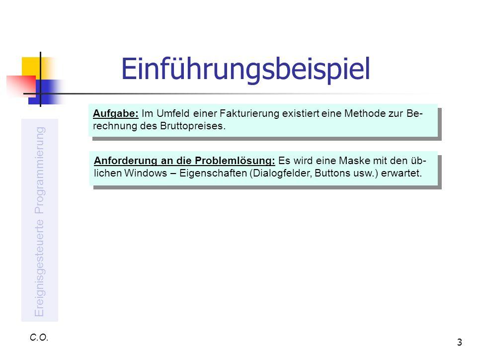 3 Einführungsbeispiel C.O. Ereignisgesteuerte Programmierung Aufgabe: Im Umfeld einer Fakturierung existiert eine Methode zur Be- rechnung des Bruttop