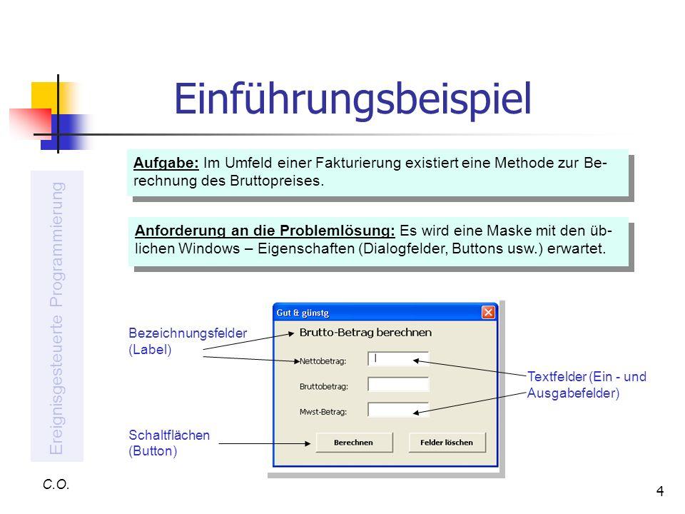 4 Einführungsbeispiel C.O. Ereignisgesteuerte Programmierung Aufgabe: Im Umfeld einer Fakturierung existiert eine Methode zur Be- rechnung des Bruttop