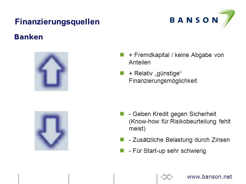 www.banson.net Finanzierungsquellen Banken n+ Fremdkapital / keine Abgabe von Anteilen n+ Relativ günstige Finanzierungsmöglichkeit n- Geben Kredit gegen Sicherheit (Know-how für Risikobeurteilung fehlt meist) n- Zusätzliche Belastung durch Zinsen n- Für Start-up sehr schwierig