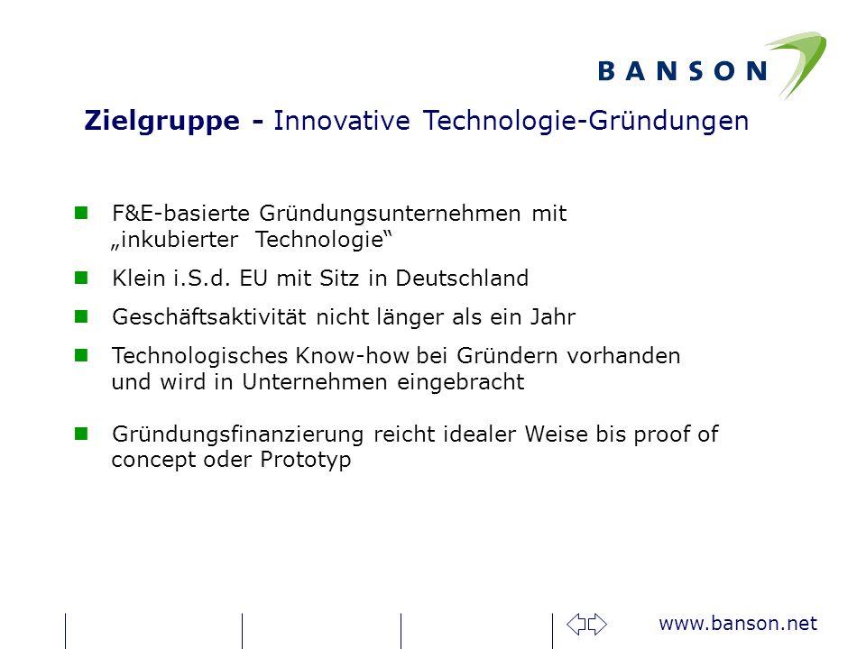 www.banson.net F&E-basierte Gründungsunternehmen mit inkubierter Technologie Klein i.S.d.