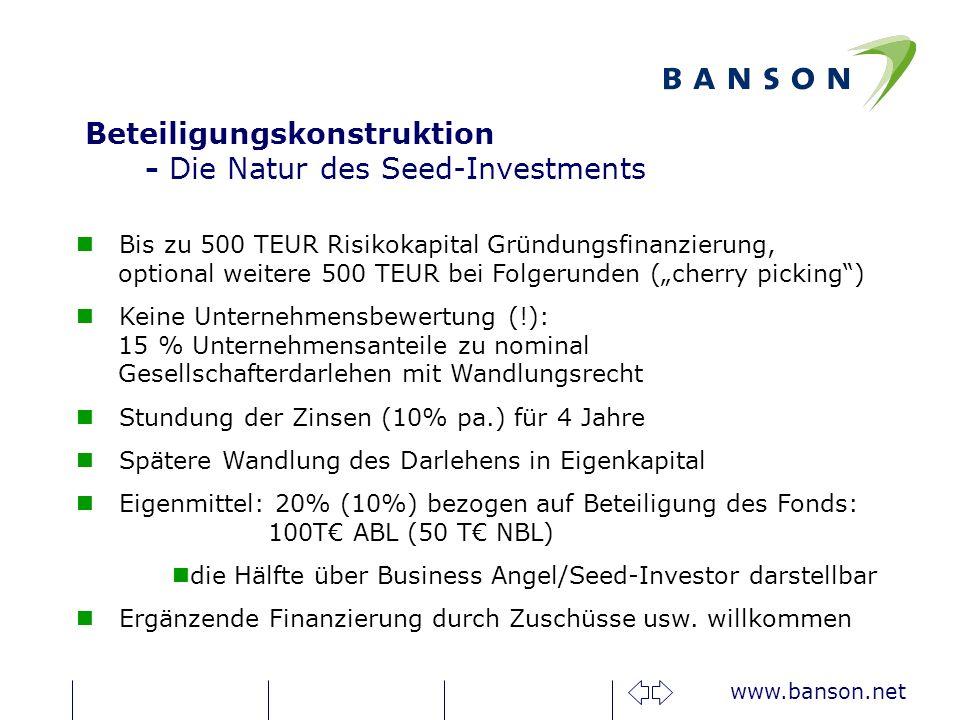 www.banson.net Bis zu 500 TEUR Risikokapital Gründungsfinanzierung, optional weitere 500 TEUR bei Folgerunden (cherry picking) Keine Unternehmensbewertung (!): 15 % Unternehmensanteile zu nominal Gesellschafterdarlehen mit Wandlungsrecht Stundung der Zinsen (10% pa.) für 4 Jahre Spätere Wandlung des Darlehens in Eigenkapital Eigenmittel: 20% (10%) bezogen auf Beteiligung des Fonds: 100T ABL (50 T NBL) die Hälfte über Business Angel/Seed-Investor darstellbar Ergänzende Finanzierung durch Zuschüsse usw.