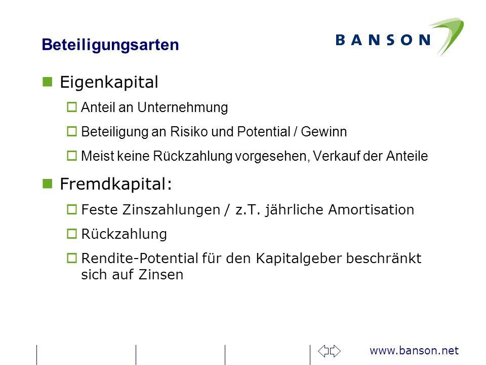 www.banson.net Beteiligungsarten nEigenkapital oAnteil an Unternehmung oBeteiligung an Risiko und Potential / Gewinn oMeist keine Rückzahlung vorgesehen, Verkauf der Anteile nFremdkapital: oFeste Zinszahlungen / z.T.