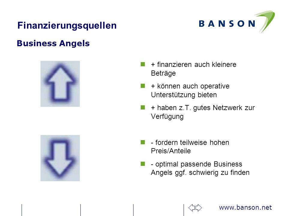 www.banson.net Finanzierungsquellen Fördermittel – Exist - Gründerstipendium n+ fördert innovative Existenzgründungen aus Hochschulen n+ Monatl.