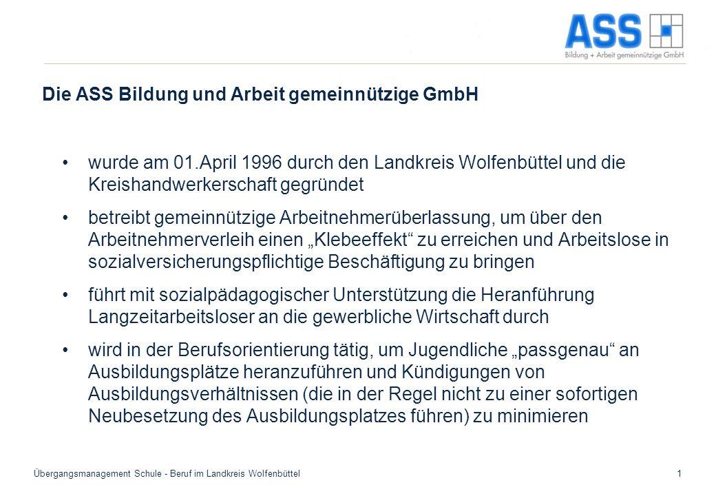 Übergangsmanagement Schule - Beruf im Landkreis Wolfenbüttel1 Die ASS Bildung und Arbeit gemeinnützige GmbH wurde am 01.April 1996 durch den Landkreis
