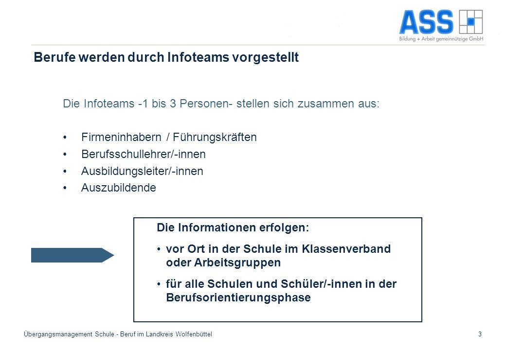 Übergangsmanagement Schule - Beruf im Landkreis Wolfenbüttel3 Berufe werden durch Infoteams vorgestellt Die Infoteams -1 bis 3 Personen- stellen sich