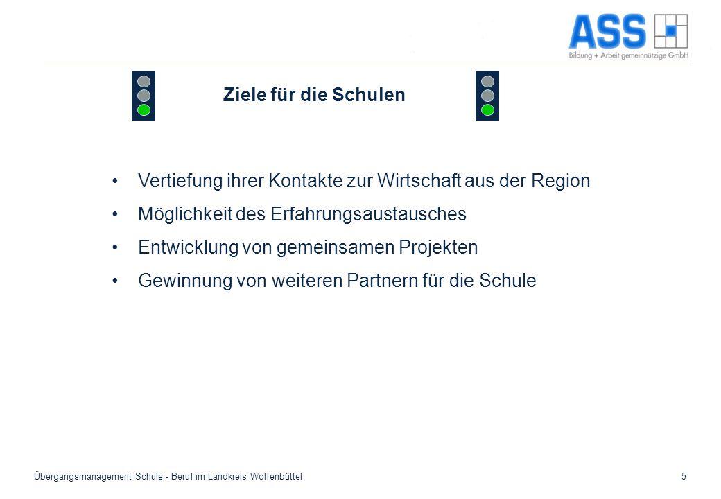 Übergangsmanagement Schule - Beruf im Landkreis Wolfenbüttel5 Ziele für die Schulen Vertiefung ihrer Kontakte zur Wirtschaft aus der Region Möglichkei