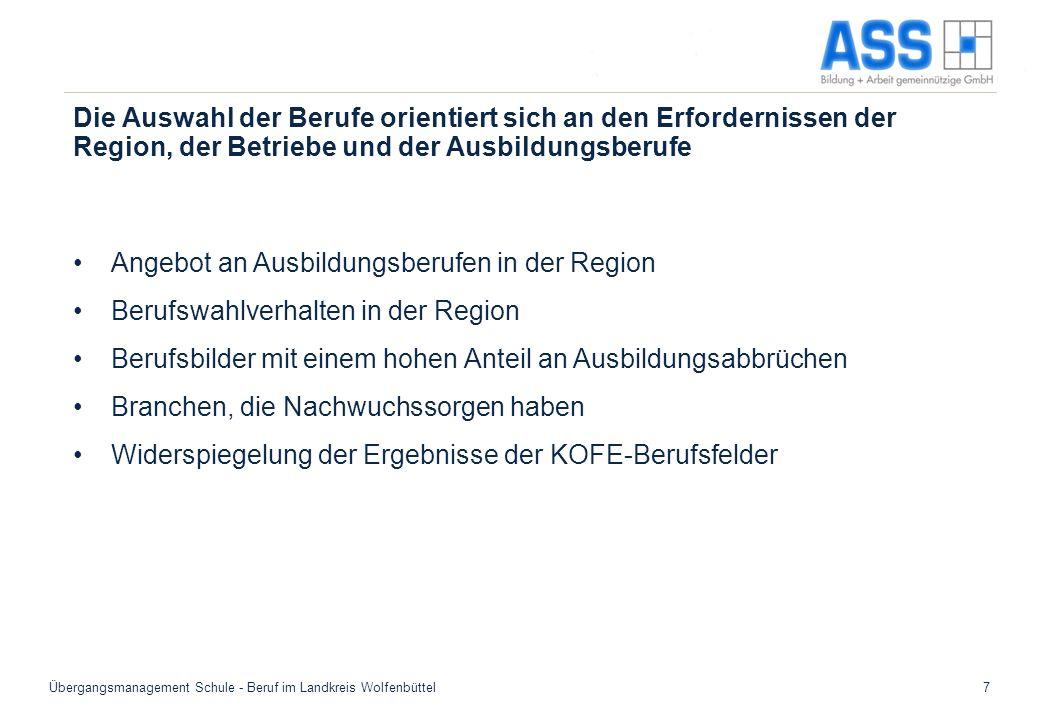 Übergangsmanagement Schule - Beruf im Landkreis Wolfenbüttel7 Die Auswahl der Berufe orientiert sich an den Erfordernissen der Region, der Betriebe un
