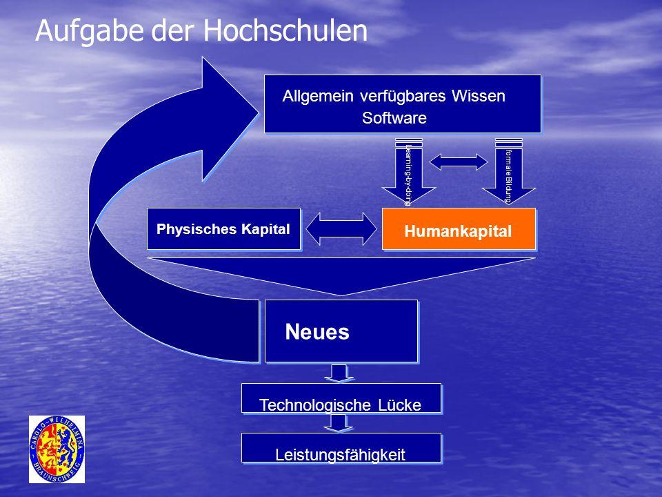 Allgemein verfügbares Wissen Software Physisches Kapital Humankapital Learning-by-doing formale Bildung Technologische Lücke Leistungsfähigkeit Neues Aufgabe der Hochschulen